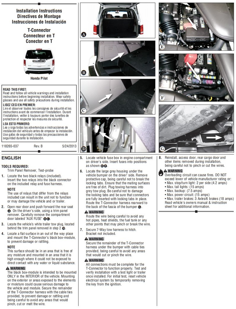 Trailer Tow Harness Hitch Wiring For Honda Pilot 2012 2013