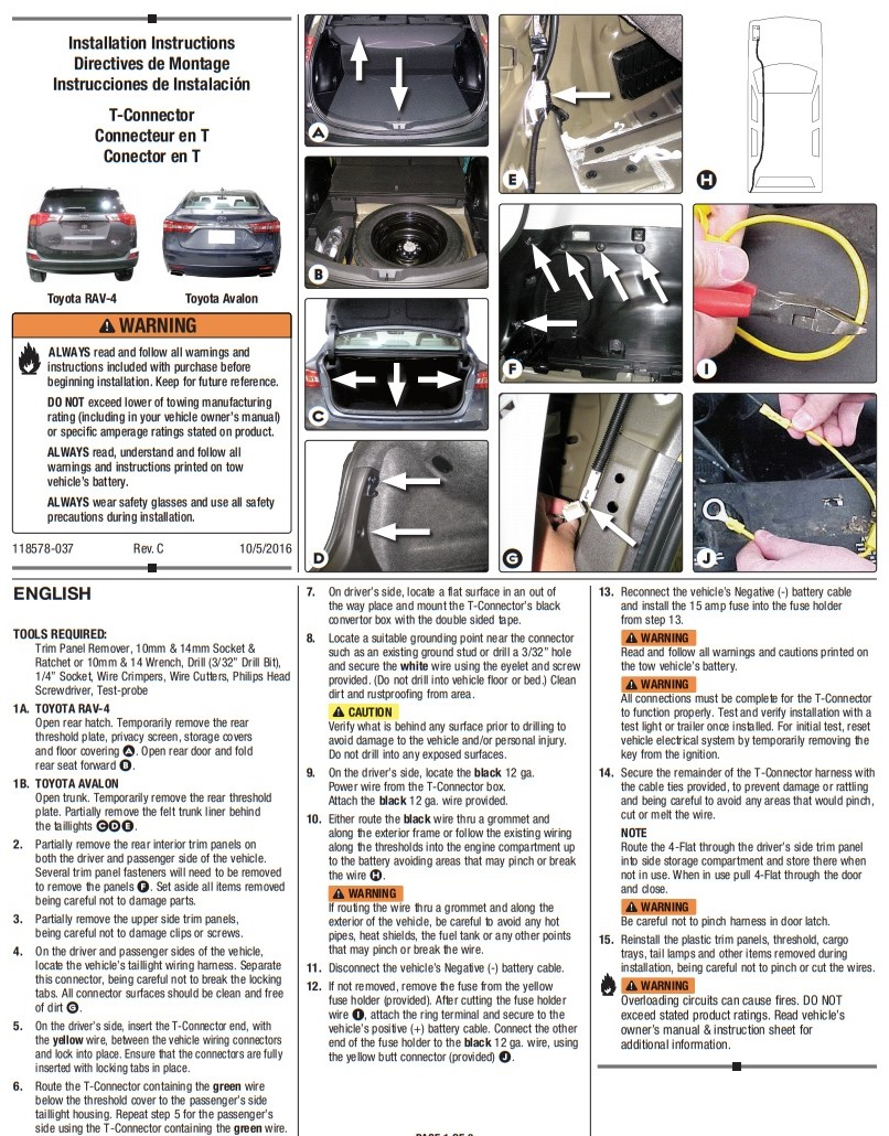 Trailer Hitch Wiring Tow Harness For Toyota Rav4 2013 2014