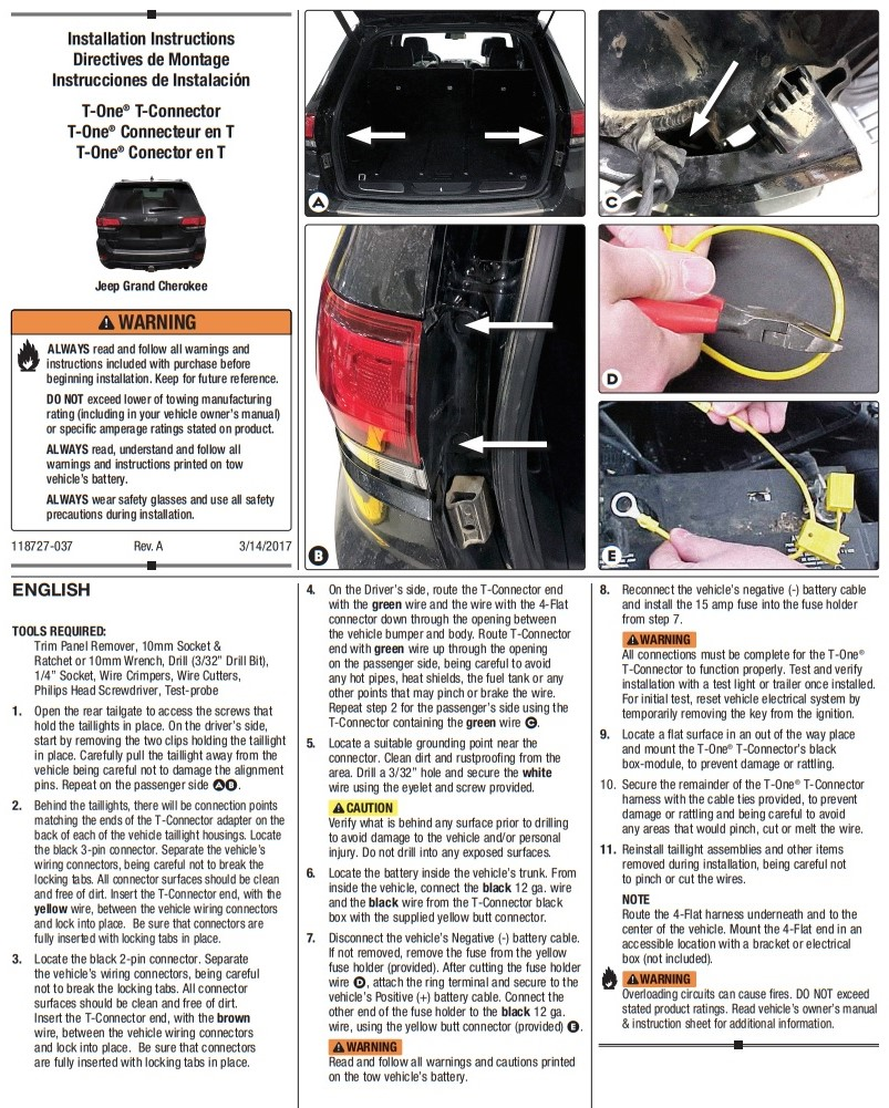 Trailer Hitch Wiring Tow Harness For Jeep Grand Cherokee
